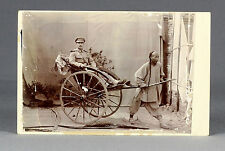 1901 | RARE Boxer Rebellion era cabinet card | CHINA, german SOLDIER in RICKSHAW