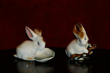 Vintage Zsolnay Pecs HUNGARY PORCELAIN  2 Baby Bunny Rabbits figurines