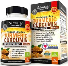 Turmeric Curcumin with Bioperine 1500mg by Schwartz Bioresearch TURMERIC-90