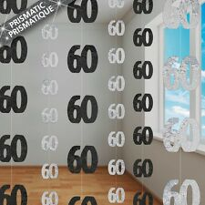 6 Happy 60th Birthday Black Sparkle Prismatic 5ft String Party Decorations