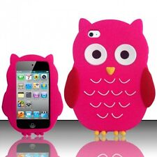 HOT PINK CUTE OWL SOFT SILICONE CASE COVER FOR APPLE iPOD iTOUCH 4 4G +FREEBIES
