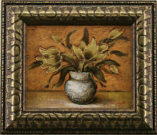 Flower Bouquet in Vase Gold Bronze Metallic Modern Room Art FRAMED OIL PAINTING
