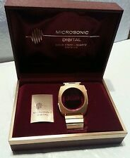 MICROSONIC DIGITAL SOLID STATE RED LED WRISTWATCH RARE VINTAGE FREE SHIPPING