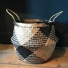 Extra Large Black Natural Seagrass Belly Basket Straw Planter Toy Laundry Basket
