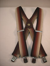 "New, Men's Brown Ombre Stripe, XL, 2"", Adj. Suspenders / Braces, Made n the USA"