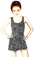 NEW NWT DISTURBIA BLACK &WHITE GRAFFITTI SINGLET TUNIC TOP TEE TANK MINI DRESS L
