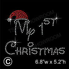 My 1st Christmas Rhinestone/Diamante Transfer Hotfix Iron on Motif + free gift