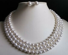 """3 Rows 8mm white south sea shell pearl necklace Earrings 17-19"""" AAA"""