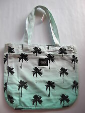 Victoria's Secret PINK Zippered Beach Bag Tote Bag Palm Tree Light Blue