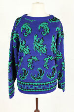 VINTAGE JUMPER SWEATER NEON LEAF CRAZY PATTERN 90s GRUNGE WOMENS 8 10 12 14