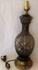 Vtg Mid-Century Modern Smokey Gray Charcoal Blown Swirl Glass Table Lamp