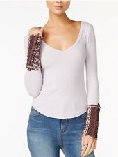 NWT Free People Art School Embroidered Cuff Thermal Top Waffle Knit  S Lavender