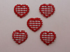 Red Gingham Hearts Iron/Sew on Patches  x  5
