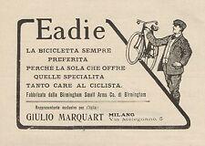 Z1327 Biciclette EADIE - Giulio Marquart - Milano - Pubblicità d'epoca - 1909 Ad