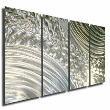Modern Abstract All Natural Silver Metal Wall Panel Art Sculpture Cross Current