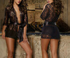 New Sexy Black Ladies Lace Lingerie Night Gown Babydoll Short Robe