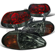 1993-1997 Honda Del Sol Diamond Smoke Headlights+Red/Smoke Tail Brake Lights