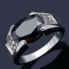 Jewelry Size 10 Percious AAA Black Sapphire 18K Gold Filled Mens Engagement Ring