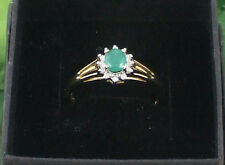 Sassi DR2008 Ladies 9ct 375 Yellow Gold Real Emerald & Diamond Oval Cluster Ring