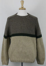 J. Crew Men's Sweater Hand Knit Sz L Brown Color 100% Wool Heavy Cable knit