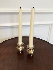 UNIQUE ANTIQUE VINTAGE ENGLISH PAIR SILVER CANDLESTICKS ELEPHANT FEET