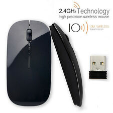 Ultra-thin Optical Wireless Mouse Mice 2.4GHz+USB Receiver For Laptop PC Macbook