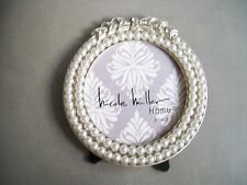 NICOLE MILLER PICTURE FRAME NWT 3X3'' PHOTO SILVER PEARLS CRYSTALS ROUND