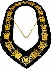MASONIC REGALIA 32 DEGREE  SCOTTISH RITE METAL GOLDEN CHAIN COLLAR BLACK VELVET!