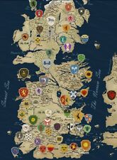 "Game Of Thrones Houses Map Westeros TV Show Fabric Poster 32"" x 24"" Decor 55"