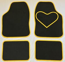 BLACK CAR MATS WITH YELLOW HEART HEEL PAD FOR MINI ONE COOPER S CLUBMAN PACEMAN