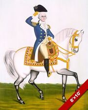 GENERAL GEORGE WASHINGTON ON WHITE CHARGER HORSE PAINTING ART REAL CANVAS PRINT