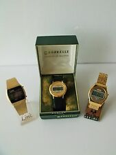 COLLECTION OF RETRO NEW OLD STOCK LCD WRIST WATCHES LIMIT BULOVA CARAVELLE