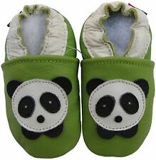 carozoo panda green 5-6y soft sole leather kid shoes