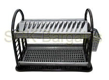 BLACK Round Plastic 2 Layer Dish Drainer Rack Utensil Cutlery Draining Kitchen