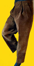 BROWN suede leather dress pant western cowboy jean beige baggy 33 leather beige