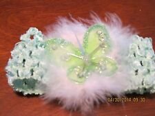 GREEN FEATHER ORGANZA BUTTERFLY BABY CHILD & LADY HAIR BOW CLIP & HEADBAND B4