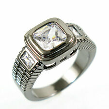 Size 7  Vintage White Sapphire Engagement Ring 10KT Black Gold Filled Jewelry