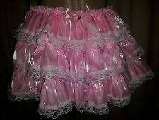 Sissy Adult Baby Pink Pearlescent Frilled Gypsy Skirt