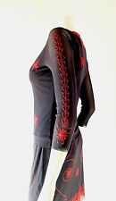 Vivienne Tam Embroidered Black Knit Jersey Crepe 2pc Shirt & Skirt sz 2 4 6 s m