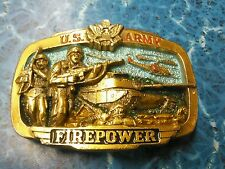 Vintage 1983 US Army FIREPOWER Military War Tank Belt Buckle Rare
