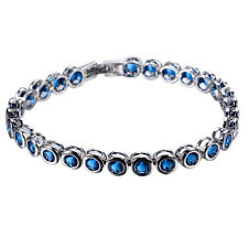 Womens Round Cut Blue Sapphire CZ Tennis Bracelet 10KT White Gold Filled Jewelry