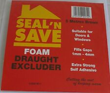 5 metre roll of self adhesive foam draught excluder brown New