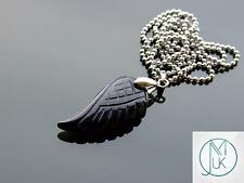 Black Onyx Gemstone Angel Wing Pendant Necklace Natural Chakra Healing Stone