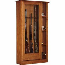 10 Gun Curio Cabinet Pistol Wood Shotgun Free Shipping NEW