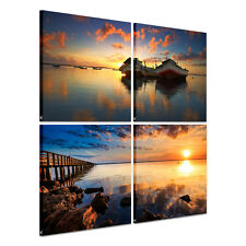 4pc Large Ready to Hang Canvas Prints Wall Art Picture Poster Sea Sunset Bridge