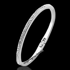 18K White Gold GP Clear Swarovski Crystal Fashion Bangle K732