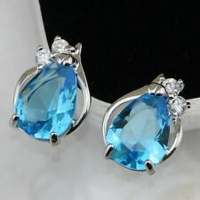 Hot Nice Sky Blue Topaz Pear Gems Gold Filled Stud Women Gift Earrings H1434-1