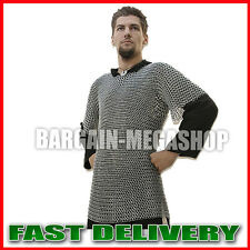 Medieval Haubergeon Aluminum Chainmail shirt Flat Riveted flat washer Anodised
