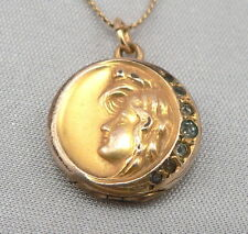 Vintage Art Nouveau Lady Head LOCKET GF/RGP Pendant Gold Filled Chain Necklace