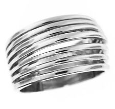 Seven Row No Stone Silver Rhodium EP Ladies Ring Size 10